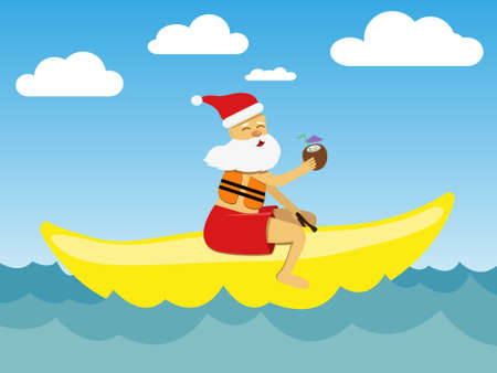 Santa claus with cocktail, riding on a banana boat. Vector illustration. Illustration