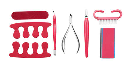 Set of manicure and pedicure tools and accessories, isolated on white background Zdjęcie Seryjne