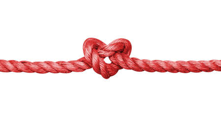 Rope with a heart shaped knot isolated on white background