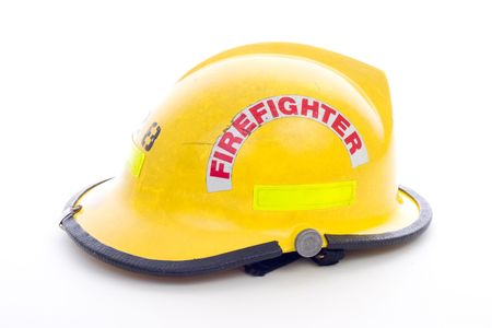A Yellow Fire Fighters Helmet on White