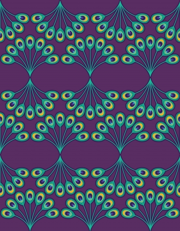 Peacock pattern on purple background. Vector