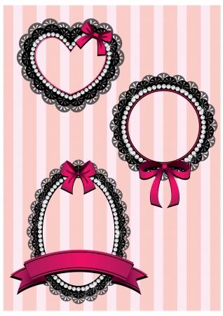 diamond shaped: set of sweet diamond frame  Illustration