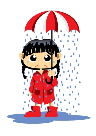 rain cartoon: Little girl sad like a raining feeling  Illustration