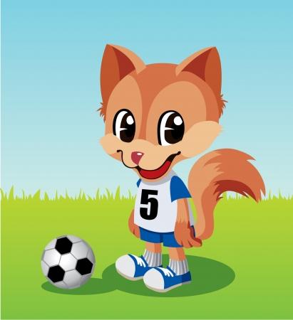 Soccer player little fox  Vector