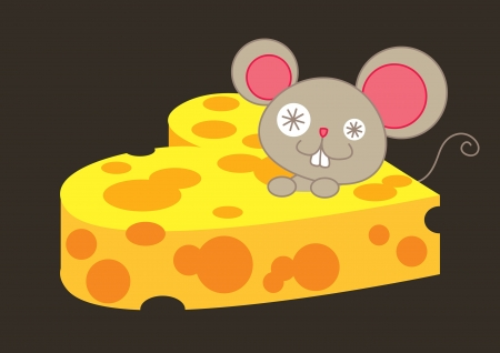 mouse and heart shape cheese Vector
