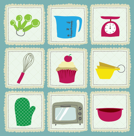 measuring spoons: baking icons Illustration