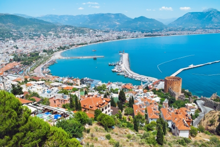 The Turkish city of Alanya located at the Mediterranean Sea