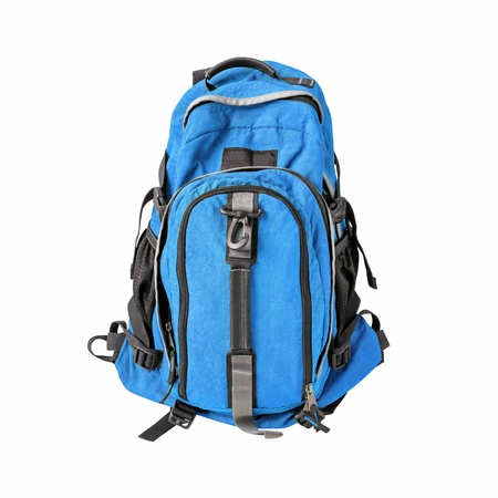 A high-resolution image of an isolated blue-colored rucksack on white background  High-quality clipping path included  photo