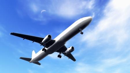 White passenger plane taking off
