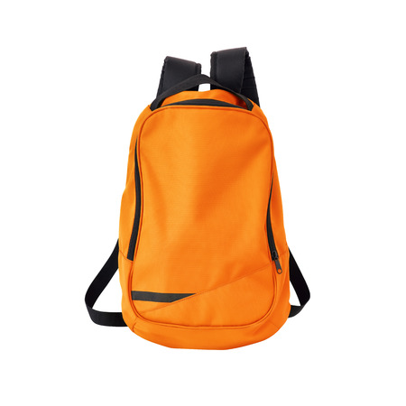 A high-resolution image of an isolated orange-colored rucksack on white background.
