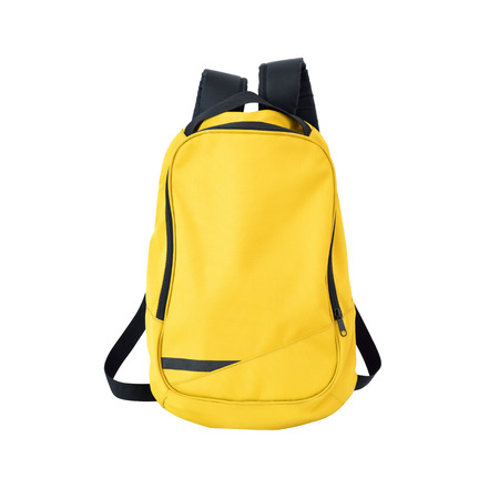 A high-resolution image of an isolated yellow-colored rucksack on white background