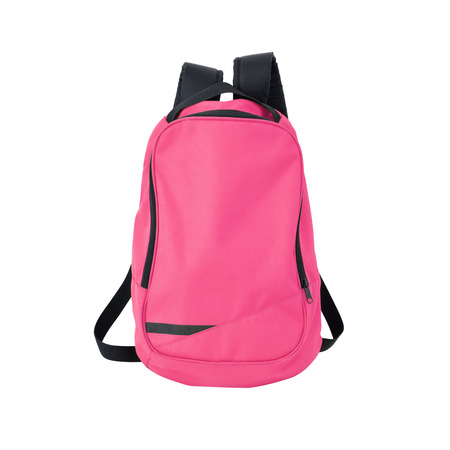 A high-resolution image of an isolated pink-colored rucksack on white background.