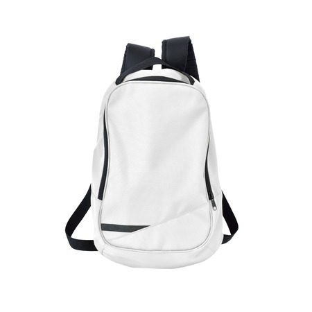 A high-resolution image of an isolated white-colored rucksack on white background.