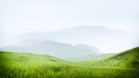 High quality render of a beautiful mountain meadow with hazy mountins in the background Imagens