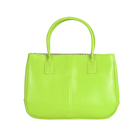 vanity bag: High-resolution image of an isolated green leather handbag on white background. High-quality clipping path included. Stock Photo
