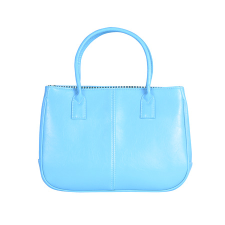 vanity bag: High-resolution image of an isolated blue leather handbag on white background. High-quality clipping path included.