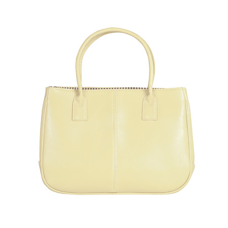 vanity bag: High-resolution image of an isolated beige leather handbag on white background. High-quality clipping path included.