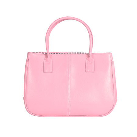 vanity bag: High-resolution image of an isolated pink leather handbag on white background. High-quality clipping path included.