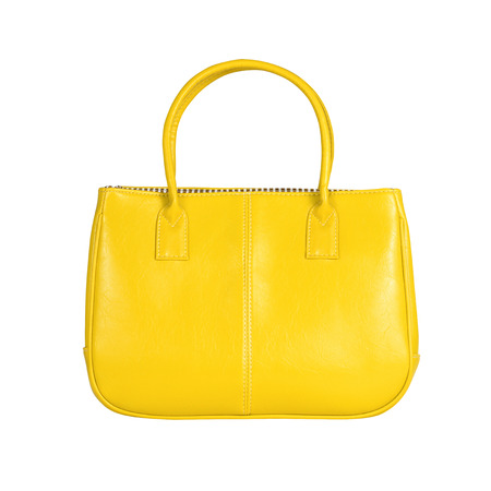 vanity bag: High-resolution image of an isolated yellow leather handbag on white background. High-quality clipping path included.