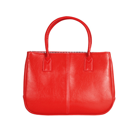 reticule: High-resolution image of an isolated red leather handbag on white background. High-quality clipping path included.