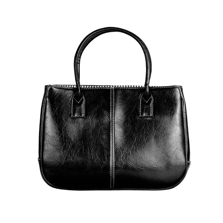 vanity bag: High-resolution image of an isolated black leather handbag on white background. High-quality clipping path included. Stock Photo