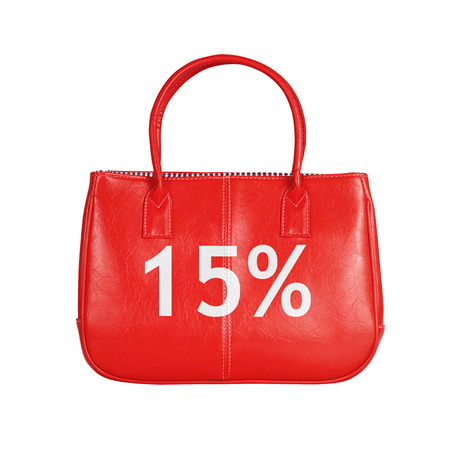 turnout: Fifteen percent sale bag. Design element isolated on white background with clipping path