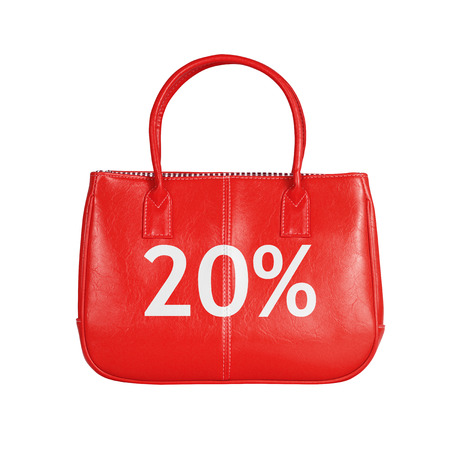 white interest rate: Twenty percent sale bag. Design element isolated on white background with clipping path