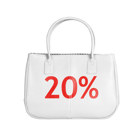 turnout: Twenty percent sale bag. Design element isolated on white background with clipping path