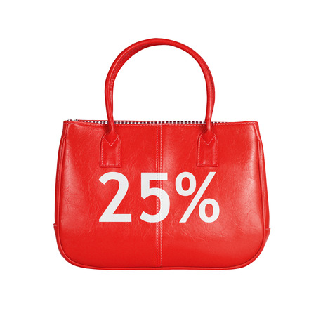turnout: Twenty five percent sale bag. Design element isolated on white background with clipping path Stock Photo