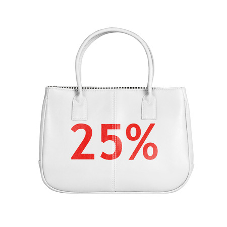 twenty five: Twenty five percent sale bag. Design element isolated on white background with clipping path Stock Photo