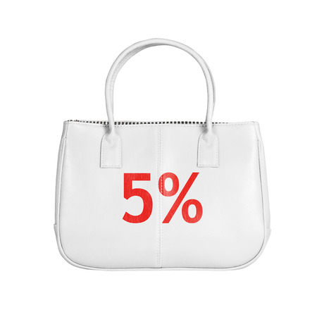white interest rate: Five percent sale bag. Design element isolated on white background with clipping path