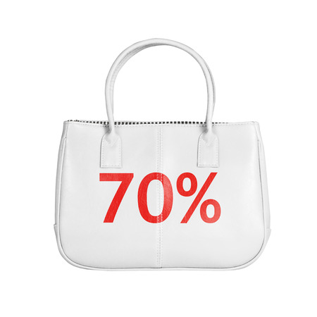 white interest rate: Seventy percent sale bag. Design element isolated on white background with clipping path