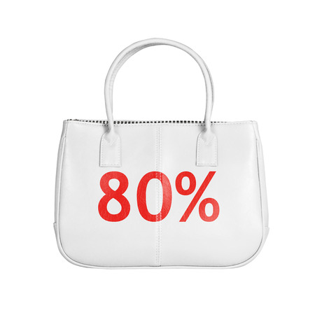 eighty: Eighty percent sale bag. Design element isolated on white background with clipping path