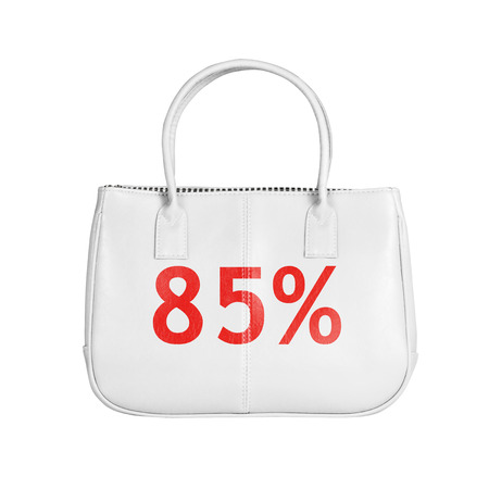 white interest rate: Eighty five percent sale bag. Design element isolated on white background with clipping path