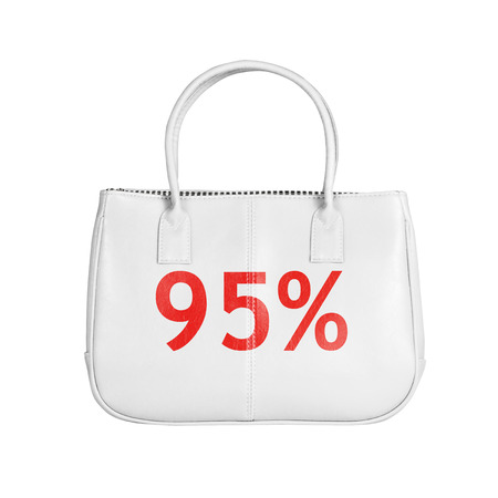 95: Ninety five percent sale bag. Design element isolated on white background with clipping path