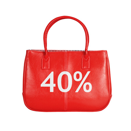 forty: Forty percent sale bag. Design element isolated on white background