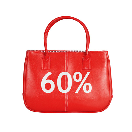 sixty: Sixty percent sale bag. Design element isolated on white background  Stock Photo