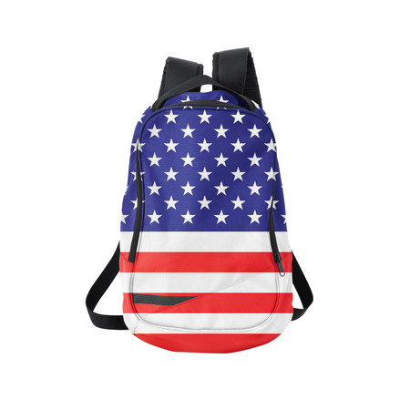 national flag: U.S. flag backpack isolated on white background. Back to school concept. Education and study abroad. Travel and tourism in USA