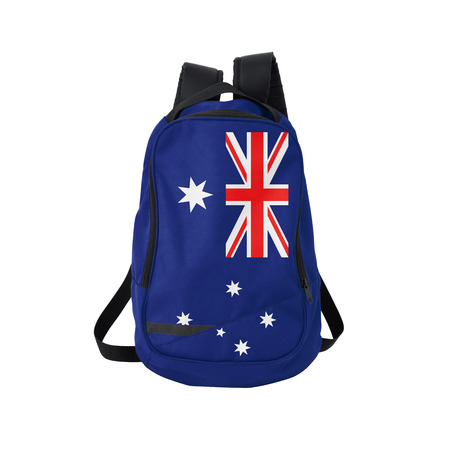 white flag: Australia flag backpack isolated on white background. Back to school concept. Education and study abroad. Travel and tourism in Australia