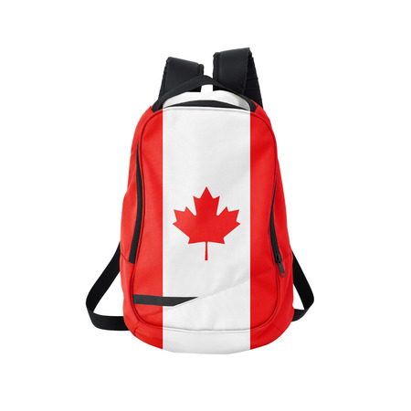 canadian state flag: Canada flag backpack isolated on white background. Back to school concept. Education and study abroad. Travel and tourism in Canada
