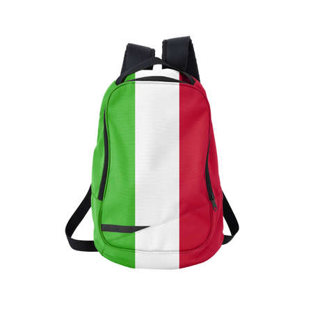 Italy flag backpack isolated on white background. Back to school concept. Education and study abroad. Travel and tourism in Italy Reklamní fotografie