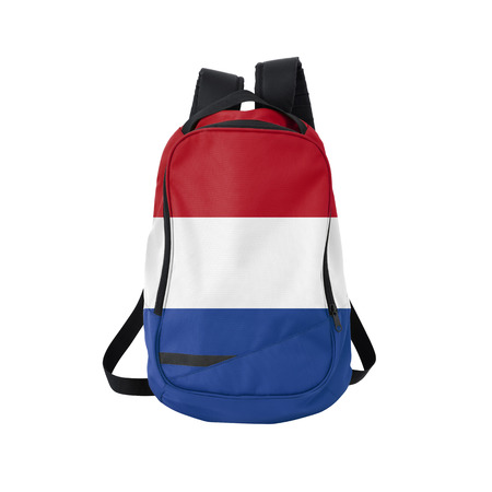 netherlandish: Holland flag backpack isolated on white background. Back to school concept. Education and study abroad. Travel and tourism in Netherlands