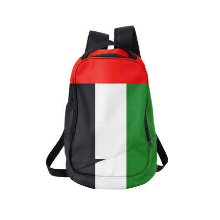 united arab emirates: Arab Emirates flag backpack isolated on white background. Back to school concept. Education and study abroad. Travel and tourism in United Arab Emirates