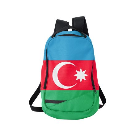 azerbaijanian: Azerbaijan flag backpack isolated on white background. Back to school concept. Education and study abroad. Travel and tourism in Azerbaijan Stock Photo