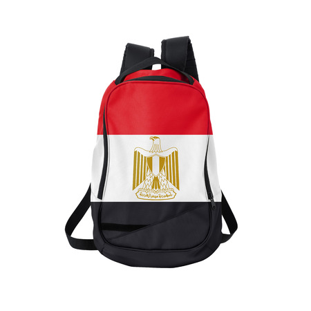 Egypt flag backpack isolated on white background. Back to school concept. Education and study abroad. Travel and tourism in Egypt