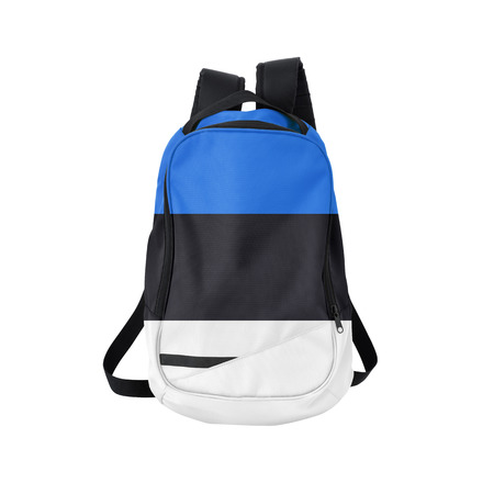 estonian: Estonian flag backpack isolated on white background. Back to school concept. Education and study abroad. Travel and tourism in Estonia