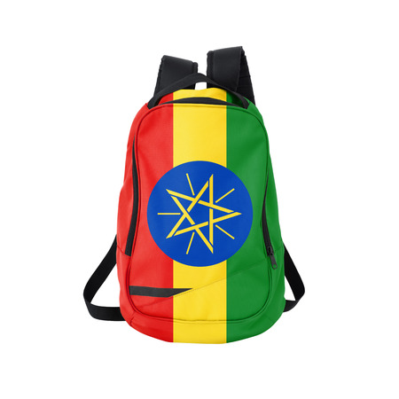 Ethiopia flag backpack isolated on white background. Back to school concept. Education and study abroad. Travel and tourism in Ethiopia