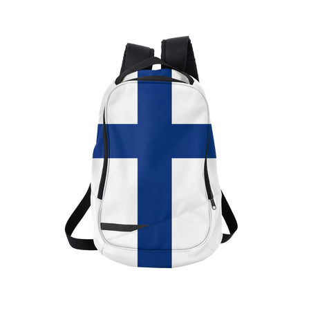 Finland flag backpack isolated on white background. Back to school concept. Education and study abroad. Travel and tourism in Finland