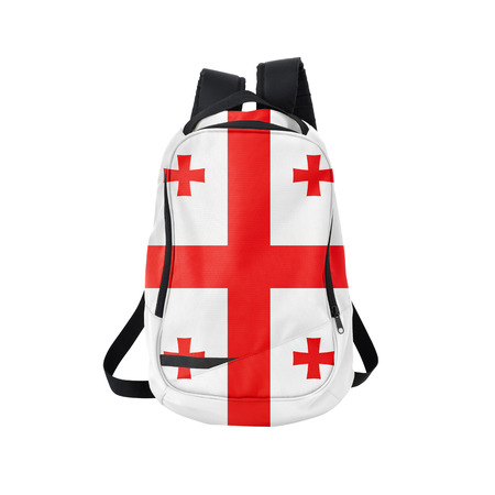 Georgia flag backpack isolated on white background. Back to school concept. Education and study abroad. Travel and tourism in Georgia
