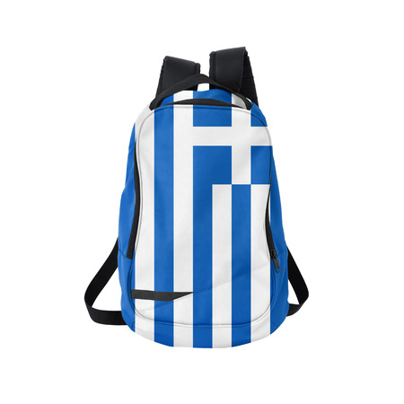 Greece flag backpack isolated on white background. Back to school concept. Education and study abroad. Travel and tourism in Greece